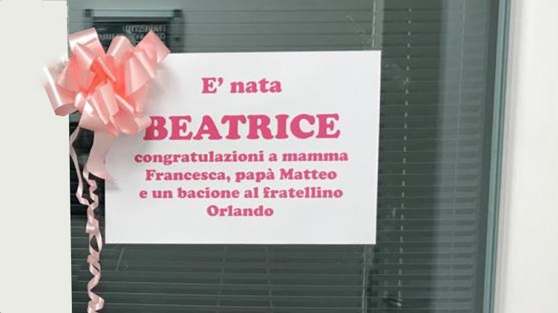 11 marzo 2019. E' nata Beatrice la secondogenita del nostro docente Matteo Ruggiero